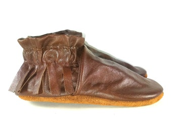 Kid's Size 10 Brown Leather Moccasins, Moccs, Shoes