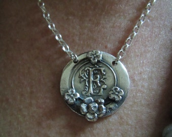 Fine silver 'Initial' wax seal necklace