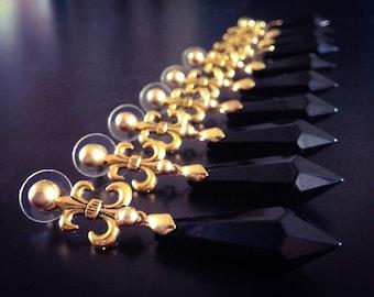 Black Moon Earrings (clip-on or pierced)