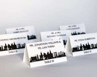 Las Vegas Place Cards Wedding Decor Escort Skyline Cityscape Handmade Custom Personalize Reception Sign