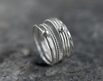 Stack Rings Set of 4 Sterling Silver Simple Stacking Rings Minimalist and Elegant Ethnic Boho Handmade jewelry