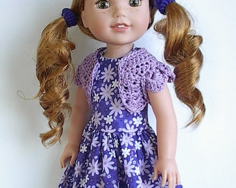 """14.5"""" Doll Clothes Sleeveless Cotton Dress and Crocheted Bolero Shrug Handmade to fit Wellie Wishers Dolls - Purple with Lavender Flowers"""
