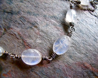 Sterling Silver Rainbow Moonstone Oval Nugget Necklace