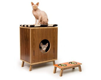 """Mid Century Modern Cat Litter Box Furniture   SMALL Cat Litter Box Cover   Pet House   MCM Walnut Side Table   """"Compact II Cabinet"""""""