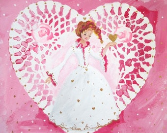 Original Painting * LADY OF HEARTS * Art by Rodriguez * Small Art Format