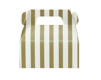 10 Gold Striped Gable Boxes Gold Party Boxes Gold Baby Shower Boxes Wedding Boxes Gable Gift Boxes Mini Gable Boxes Candy Box Party Favors