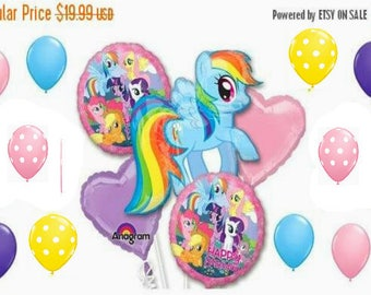 15 piece My Little Pony Rainbow Dash Balloon Bouquet Kit Kids birthday party Balloons Party supplies shower