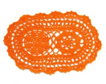 Orange hand dyed Crochet Doily Vintage oval doily