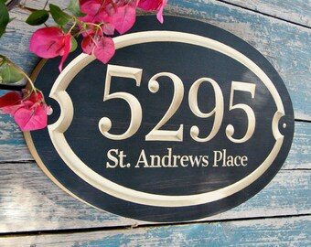"15""x9"" Oval House Number Engraved Plaque, Housewarming Gift, Open House Gift, Realtor Gift, Address Sign, House Number, Outdoor Sign, carved"