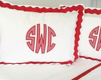 Applique Monogram Standard Pillow Sham with Scalloped Ribbon Trim / Monogram Bedding / Applique Sham