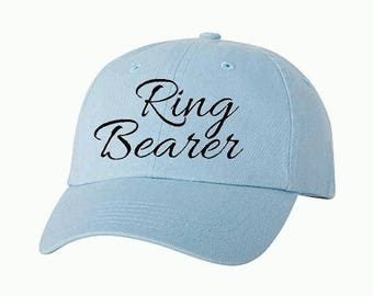 RING BEARER 01 Kids Baseball Style Hat/Cap/Bridal/Wedding/Special Activities/Parties/Showers