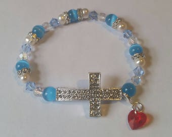Religious Christian Jewelry Cross Heart Bracelet Religious Jewelry Christian Bling BR10
