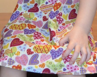 Reversible Pinafore Dress & Accessories - Age 4 Years - cotton - Hearts