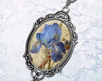 Aged Flowers Periwinkle Blue Iris Oval Pendant Necklace Boho Style Filigree Pendant Art Pendant Photo Graphic Pendant
