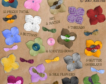 Silk Flowers - A rainbow of digital clipart silk flowers with bows, buttons, stitches, and glitter to embellish digital scrapbook layouts