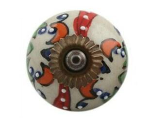 Multicolored Embossed Ceramic Cabinet Knob