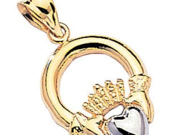 2-tone 14kt white & yellow gold polished finish claddagh pendant
