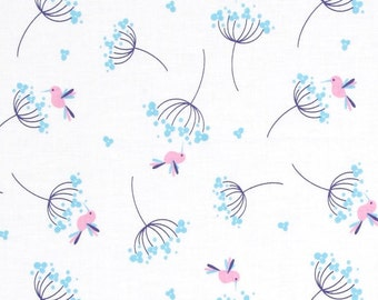 Wildflower Meadow Birds Blue - One Yard - Riley Blake Fabric