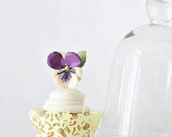 Paper pansy cupcake picks, set of 12 hand cut paper pansies wedding cake decor