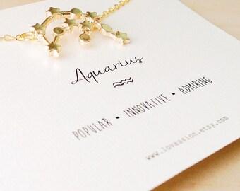 Aquarius Necklace, aquarius constellation necklace, constellation necklace, zodiac necklace, star sign necklace, aqaurius jewelry, 14k