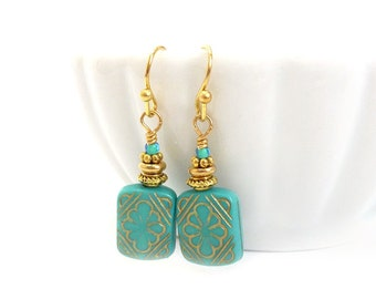 Turquoise Vintage Style Earrings - Acrylic Etched Square Beads - Gold Inlay - Petite Earrings - Blue Earrings