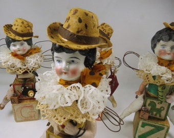 "Art Doll, ""Carol, a Safari Sister"", Assemblage Doll with Antique Doll Parts and Vintage Blocks,"