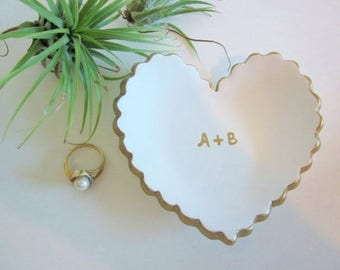Custom ring dish, Gold and white heart ring dish, ceramic ring dish, ring holder, bridesmaid gift, initial ring dish