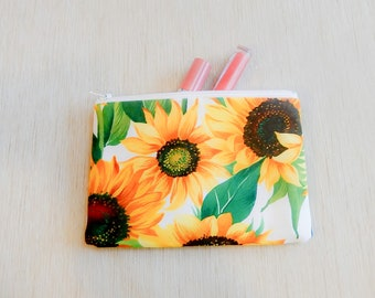 Pencil Case/ Make Up Bag/ Gift for Her/ Gift for Mom/ Gift for Wife/ Sunflower Gift/ Mothers Day Gift/ Best Friend Gift/ Gift for Women