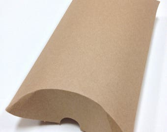 DIY Brown Large Size Kraft Pillow Boxes - set of 5 - Perfect for Embellishing with Deco Tapes - 7 x 5 1/2 x 2 Inches