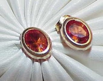 14K .50ct Citrine Oval Stud Post Earrings Yellow Gold