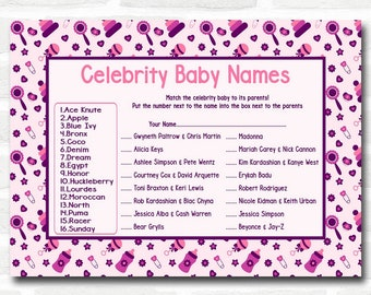 Baby Shower Games Girls Pink & Purple Celebrity Baby Name Cards