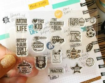 Mom Life 3X4 Photopolymer stamp set/Planner Accessories: Erin Condren, Filofax, planners