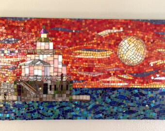 Buntglas-Mosaik Leuchtturm Manty Morgen