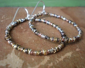 Large Hoop Earrings - Mixed Metal Beads - Organic Textured Hoops - Rustic Earrings - Big Boho Earrings - dorijenn Signature Ring O' Links