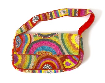 Vintage 90s Rainbow Beaded Handbag