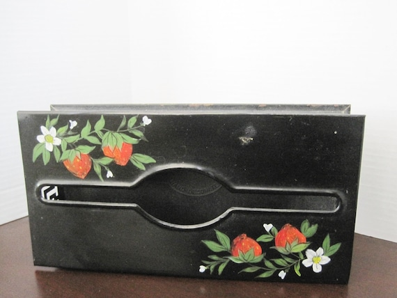 Black Tissue Holder, Strawberry Painted, Toleware Decor, Plymouth Signed - Black Enamel - Home Decor