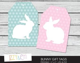 Bunny Gift Tag - Printable Easter Tag-  Printable Gift Tag - Easter Bunny Gift Tags - Tags for Favors - Easter Gift Tag - Rabbit Favour Tag