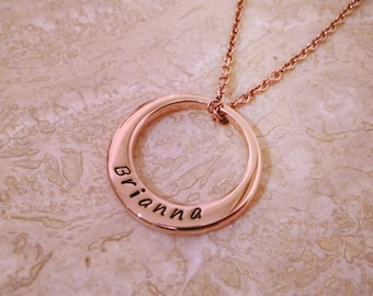 Personalised Name Necklace - Rose gold plated. Hand stamped.