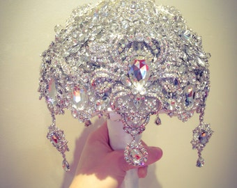 Luxurious Great Gatsby Diamond Silver White Crystal Clear Bling  brooch bouquet. FULL PRICE listing