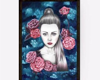 Wall art prints, Fashion illustration print, Abstract art prints, Illustration print, Fashion wall art print, Woman portrait