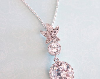 Star - Crystal Star Necklace with Clear Stone Drop, Bridal, Crystal Wedding necklace, Bridesmaids, Cubic Zirconia Necklace, Beach Wedding