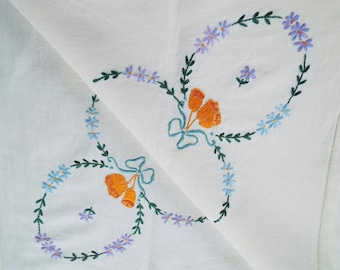 Vintage Square Tablecloth. Hand Embroidered Cream Linen Tablecloth With Wedding Bells And Daisies. Ideal For A Vintage Wedding Or Tea Party