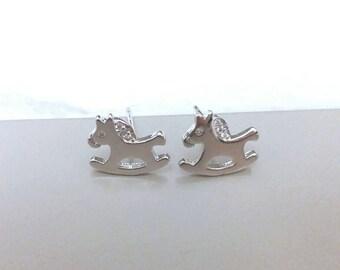 Rocking Horse Earrings, Stud Earrings, 925 Sterling Sliver,  Rhodium Plated, Handmade, Rocking Horse, CZ Earrings,  Children Earrings, horse