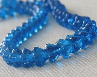 Capri Blue Czech Glass Bead 4x6mm Baby Bell Flower : 30 pc Blue Flower Beads