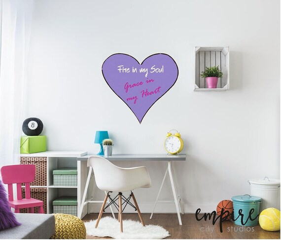 Fire in My Soul, Grace in My Heart Wall Decal, Stylized Heart, Canvas Style Heart decal, Custom Name girls decal