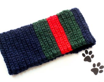 Dog Scarf Neck Warmer Cowl Pet Neckwarmer Blue Green Red Stripe Dog Collar Pet Dog Clothes Puppy Accessories Winter Cowl Crochet Scarf Cozy