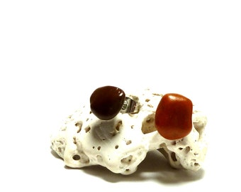 Two Ear Studs Eclectic Pair STATEMENT Unmatched Beach Stones Natural Jasper & Chocolate Pebbles Rocks on Surgical Steel Posts