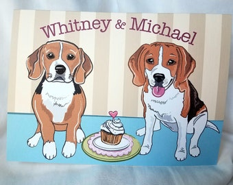 Beagles in Love Greeting Card