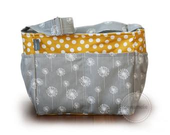 Zipper-top dandelion grey and yellow polka dot diaper bag tote bag