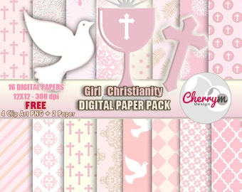 Girl First Communion, Baptism Digital Papers, Free Clip Art, Digital Scrapbooking, Christening, Holy Cross Baptismal, scrapbook papers